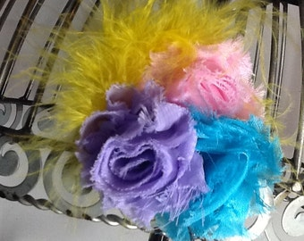 Feather hair clip hair accessory in light pink, lavender, and turquoise shabby chic flower hair clip with yellow marabou hair accessory
