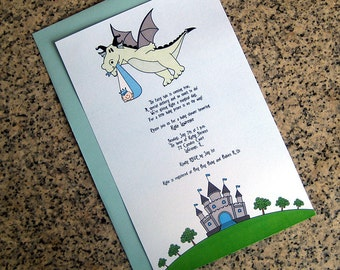 fairy tale dragon stork baby boy little prince baby shower full sized fully custom invitations with envelopes - set of 10