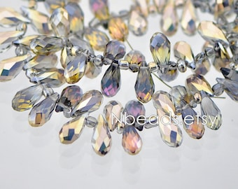 95pcs Teardrop Crystal Glass Faceted beads, 17x8mm Water Drop, Transparent Gold Rose Briolette- (HS16-6)