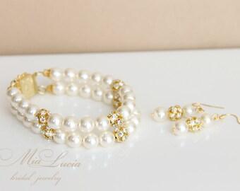 Wedding Jewelry Set, Swarovski Pearl Bridal Jewelry Set, Gold tone Pearl Earrings Bracelet Set, Bridal Jewellery art. e02-b05