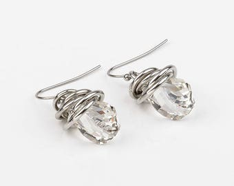 swarovski, stainless steel drop earrings