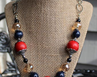 SALE:Red Glass & Blue Necklace