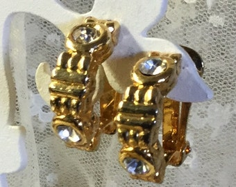 Totally Office Ready Rhinestone Gold Tone Half Hoop Earrings Clip On Unsigned 1970's 1980's Career Wear Feminine Sophisticated Chic Day Wear