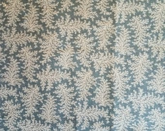 Denim Blue Fern Pattern Cotton Fabric