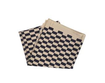 "Vintage Designer Marimekko Taso III 1981 Checkered Print Cotton Fabric 107"" x 56"""