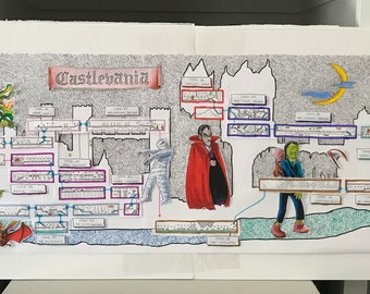 Castlevania (NES) hand-drawn map collage of Dracula's Castle - original art