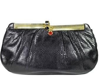 JUDITH LEIBER Black Karung Snake Skin with Jewel Clasp Handbag