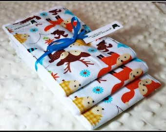 Baby Burp Cloth Set - Woodland Forest Animals, Fox, Deer, Hedgehog