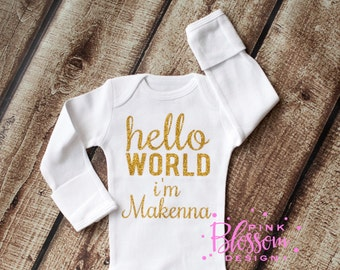 Hello World, Newborn Outfit, Newborn Onesie, Personalized Baby Shower Gift, Hello World, Coming Home Outfit, Going Home Outfit