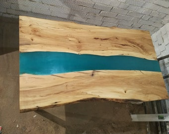 SOLD Epoxy Resin Solid River Table Live edge slab Elm