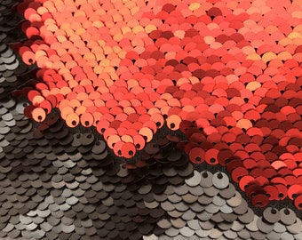 Matte Red/Matte Black 5mm Flip up/Reversible Sequin Fabric on Spandex Fabric Sold by Yard