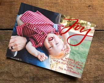 Joy christmas card, Red Foil Christmas Card, Christmas Photo Card, Christmas Card, Handlettered Christmas card