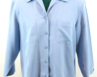 Sky Blue 100% Silk Blouse by Nexx. Fall blouse, fall top, blue top, silk top, soft top, versatile top
