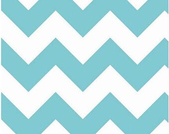 Riley Blake - Large Aqua & White Chevron - 1/2 yard fabric - by Boutique Mia