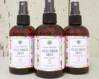 Cucumber Mint Room Spray Mist - Green Daffodil - VEGAN - 4oz - RM