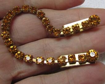 Vintage topaz rhinestone sweater clip gold plated 50's sweater guard twin set retro accessory