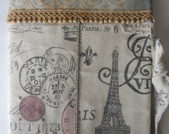 Handmade Custom Slip-On Cover for Composition  Notebook Fabric Reusable Removable, Vintage Style