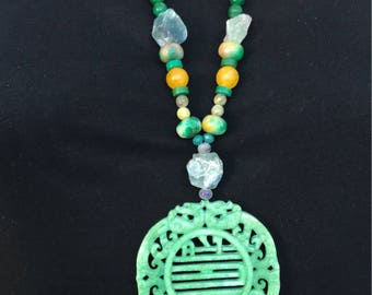 Necklace Jade purple and green