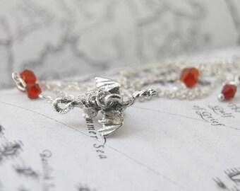 Teeny Tiny Silver Dragon Necklace | Cute Fantasy Charm Necklace | Dragon Charm Necklace