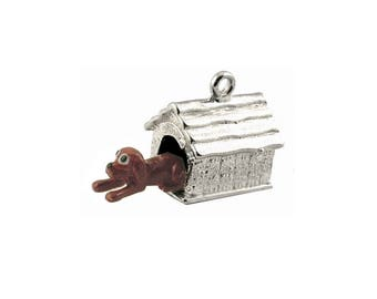 Sterling Silver Movable Dog In Kennel Charm For Bracelets