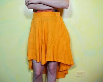 1990s Asymmetrical Flowy Linen Skirt