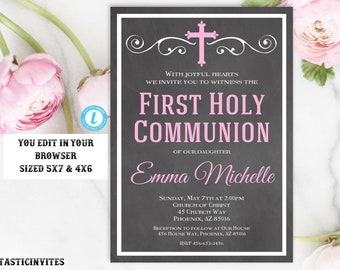 First Communion Invitation Girl, Girl First Communion Invitation, First Communion Invitation Printable, First Communion Template, You Edit,