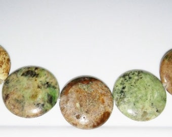 Phrase jasper beads 25mm coin beads 25mm stone beads brown stone beads green stone beads semiprecious stone semiprecious beads jasper beads