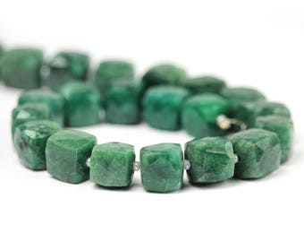Emerald Faceted Cube Beads 1 Green Precious Gemstones