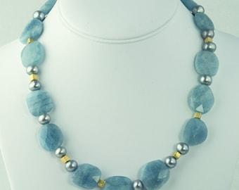 Aquamarine Necklace Pearl Gold