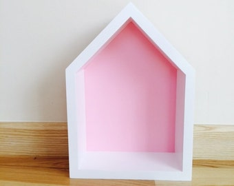 House Shaped Shelf, Wooden House Pink