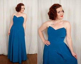 1950s Deep Blue Evening Dress - Medium
