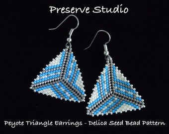 Stripe Peyote Triangle Delica Seed Bead Pattern, Peyote Earring Pattern,Beaded Triangle Pattern, DIY Earrings, Peyote Stitch