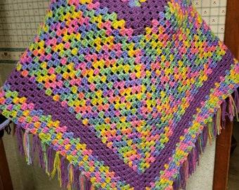 Colorful Crochet Poncho, Woman's Poncho, Woman's Garment