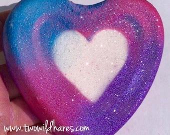 UNICORN LOVE Bath Bomb, Rainbow Heart, Color Embedded, Unicorn Poop Scented, 4 oz