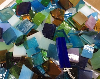 100 MOSAIC #2  GRAB BAG Bonanza!  Stained Glass Tiles Mix Color B45
