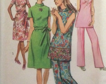 Simplicity 9381, Size 24 1/2, Jiffy Dress or Tunic and Pants in Half Sizes Pattern, UNCUT, VIntage 1971, Retro, Sleeveless, Plus Size