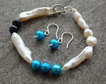 White Pearls, Freshwater Pearl Jewellery, Pearl Bracelet, Pearl Earrings, Contemporary Pearls