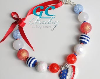 Love Red White Blue Bubblegum Necklace - Large Rhinestone & Enameled Pendant, Gumball Beads,  Silver Heart Lobster Claw Clasp, Ribbon