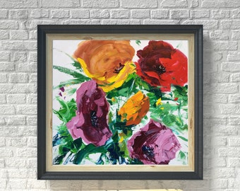 Flowers Painting, Colorful Art, Modern Artwork, Abstract Art, Bedroom Decor, Living Room Decor, Gifts for Women, Gift for Her, Ideas Gifts