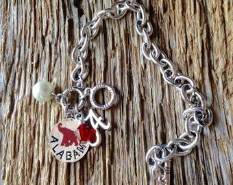 Alabama Roll Tide elephant bracelet: Alabama Crimson Tide charm bracelet, roll tide jewelry, Alabama elephant