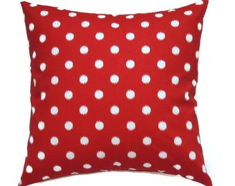 Red Patriotic Pillow, Decorative Pillows, 22x22 Pillow Cover, Memorial Day Decor, Fourth of July, Red Porch Pillow, Ikat Dots Lipstick