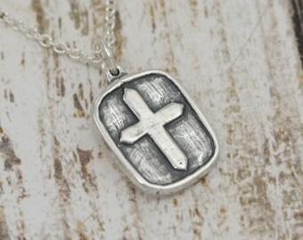 Artisan Sterling Silver Cross Charm or Cross Necklace – Sterling Cross Charm – Sterling Silver Cross Pendant Charm – Artisan Cross Jewelry