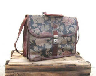 Vintage Italian Wine Leather Floral Briefcase w/Shoulder Strapby I Santi