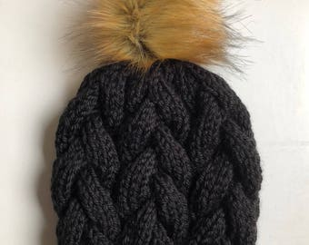 Hand Knit Braided Cable Beanie Black Your Choice of Faux Fur Pom Acrylic Bulky Yarn Handmade Skiing Snowboarding Sledding Winter Snow Hat