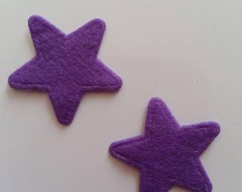 lot de 2 appliques etoile feutrine violet 25mm