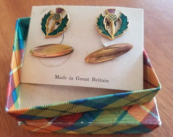 Vintage 1950s Scottish Thistle Cufflinks