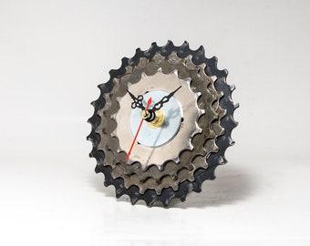 Designer Clock, Original Clock, Desk Clock, Unique Clock, Industrial Clock, Modern Clock, Metal Clock, Gear Clock, Cyclist gift, Unique Gift