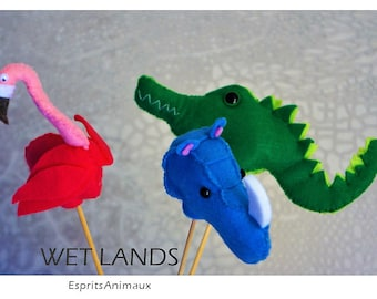 WETLANDS finger-puppet Trio | Rhino, Flamingo, Crocodile