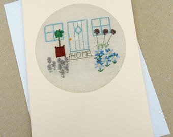 Embroidered New Home Cottage Card