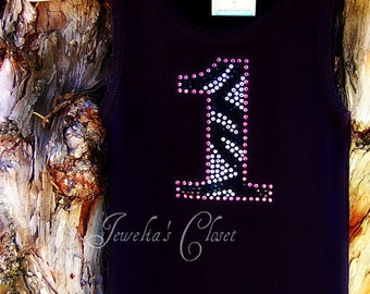 Zebra Print Bling Number Birthday TANK TOP- Boutique Quality Rhinestone Number on a Beater Tank- Perfect paired with a Tutu or Pettiskirt